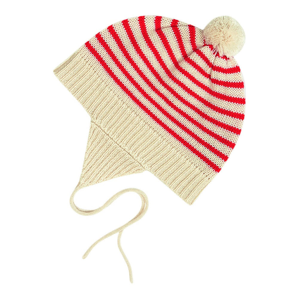 Pom Pom Stripe Hat Red, fub- Trapeze Kids
