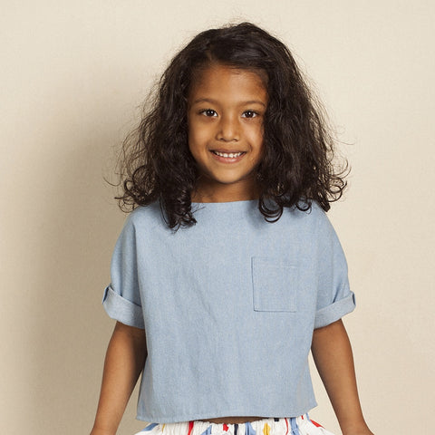 Batty Chambray Top, Mini Stitches- Trapeze Kids