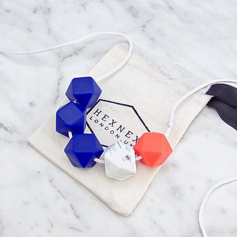 Loulou Blue Marble Teething Necklace