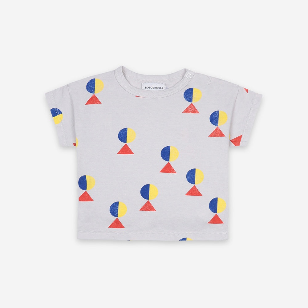Geometric All Over Short Sleeve Baby T-Shirt by Bobo Choses