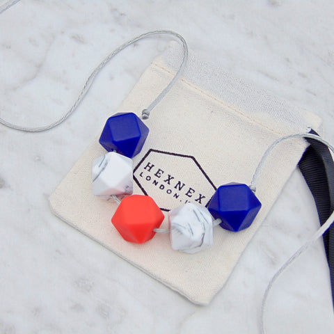 Loulou Red and Navy Teething Necklace