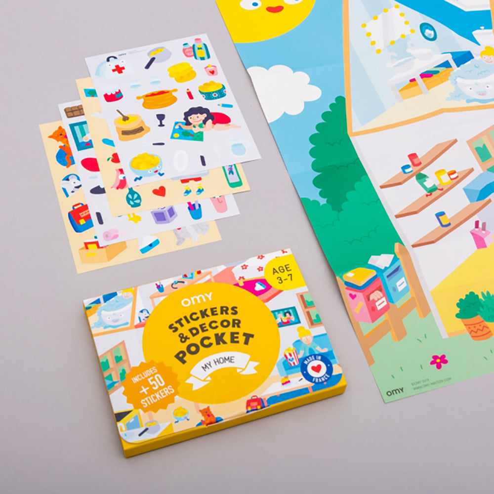 Home illustration sticker pocket from OMY Maison