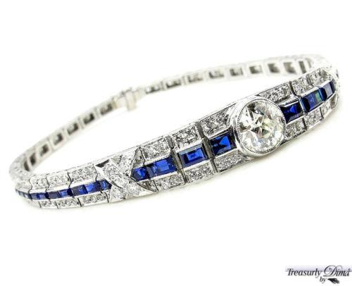 5.01CT ANTIQUE VINTAGE ART DECO EURO DIAMOND SAPPHIRE LINE BRACELET EGL US 18KWG | Treasurly by Dima - Exquisite Diamonds and Fine Quality Antique, Vintage, and Estate Jewelry