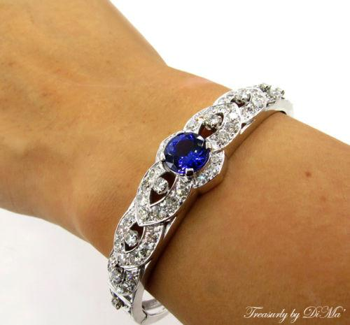 5.53CT ESTATE VINTAGE DEEP VIOLET BLUE TANZANITE DIAMOND BANGLE BRACELET 14KWG | Treasurly by Dima - Exquisite Diamonds and Fine Quality Antique, Vintage, and Estate Jewelry
