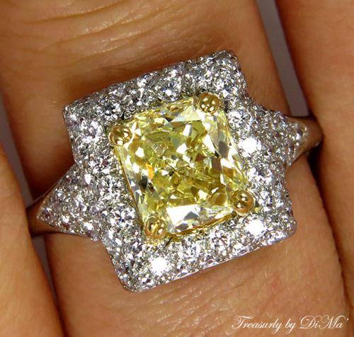 2.56CT VINTAGE ESTATE FANCY YELLOW RADIANT DIAMOND ENGAGEMENT WEDDING RING EGL | Treasurly by Dima - Exquisite Diamonds and Fine Quality Antique, Vintage, and Estate Jewelry