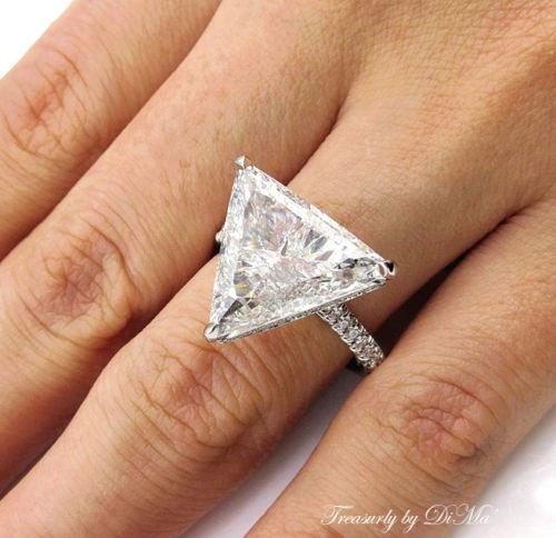6.47CT ESTATE VINTAGE TRILLION DIAMOND ENGAGEMENT WEDDING RING EGL USA PLAT PAVE | Treasurly by Dima - Exquisite Diamonds and Fine Quality Antique, Vintage, and Estate Jewelry