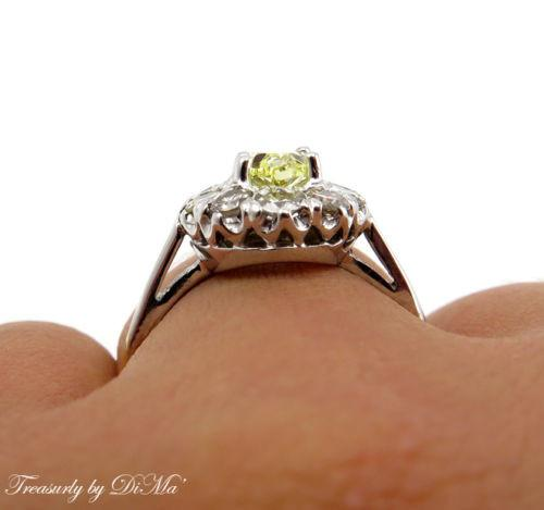 GIA 1.28CT ESTATE VINTAGE FANCY INTENSE YELLOW DIAMOND ENGAGEMENT CLUSTER RING | Treasurly by Dima - Exquisite Diamonds and Fine Quality Antique, Vintage, and Estate Jewelry