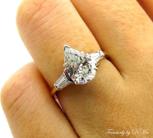 GIA 1.60CT ESTATE VINTAGE PEAR DIAMOND ENGAGEMENT WEDDING RING 3 STONE PLAT 18KY | Treasurly by Dima - Exquisite Diamonds and Fine Quality Antique, Vintage, and Estate Jewelry