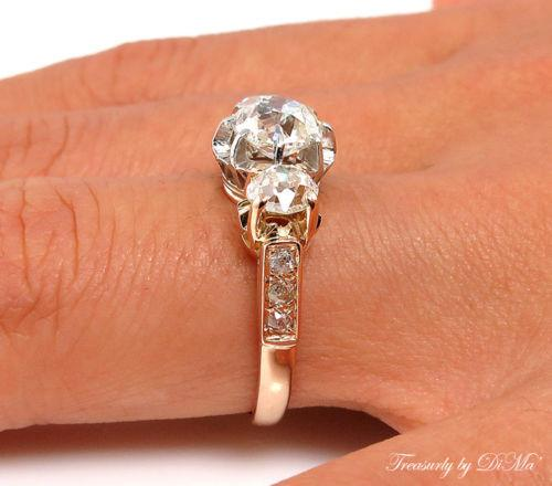 GIA 2.16CT ANTIQUE VINTAGE VICTORIAN OLD CUSHION DIAMOND ENGAGEMENT WEDDING RING | Treasurly by Dima - Exquisite Diamonds and Fine Quality Antique, Vintage, and Estate Jewelry