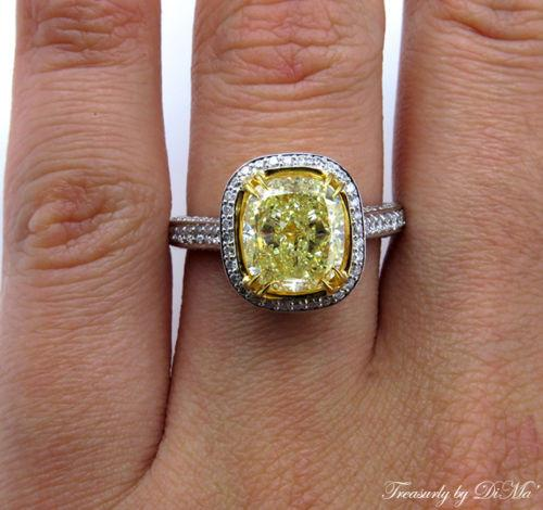 GIA 4.32CT ESTATE VINTAGE FANCY YELLOW CUSHION DIAMOND ENGAGEMENT WEDDING RING | Treasurly by Dima - Exquisite Diamonds and Fine Quality Antique, Vintage, and Estate Jewelry