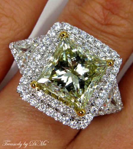 GIA 6.81CT ESTATE VINTAGE FANCY YELLOW PRINCESS DIAMOND ENGAGEMENT WEDDING RING | Treasurly by Dima - Exquisite Diamonds and Fine Quality Antique, Vintage, and Estate Jewelry