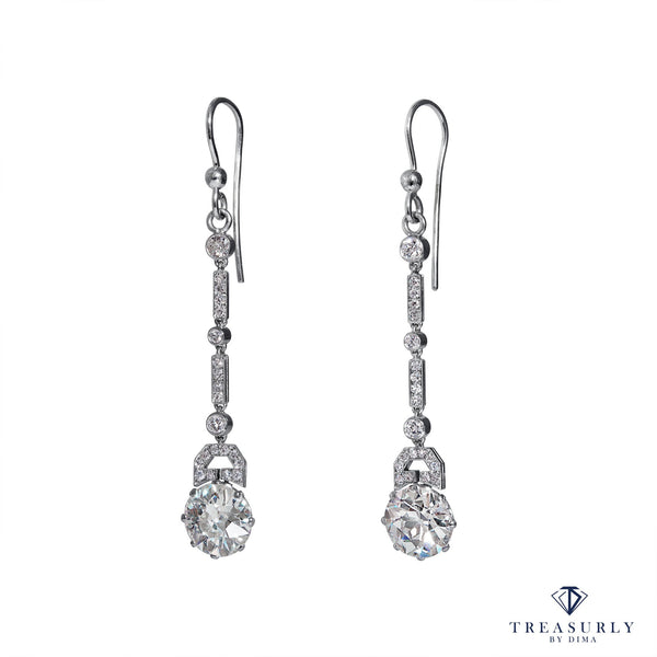 Art Deco 1920s 5.71ct Old European Diamond Drop HANGING Platinum Earrings | Treasurly by Dima - Exquisite Diamonds and Fine Quality Antique, Vintage, and Estate Jewelry