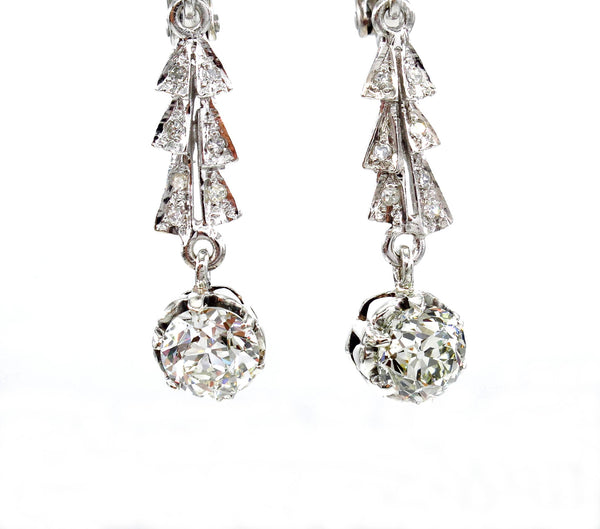 Art Deco GIA 3.25ct OLD European cut Diamond Drop Dangling EARRINGS | Treasurly by Dima - Exquisite Diamonds and Fine Quality Antique, Vintage, and Estate Jewelry