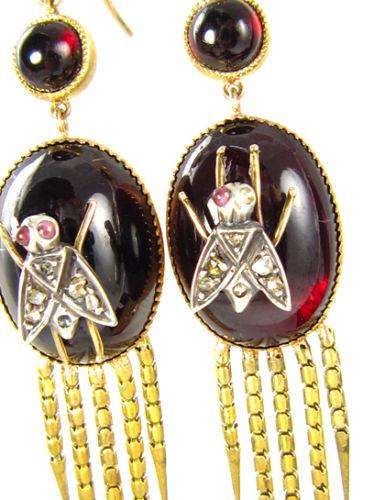 AUTHENTIC FRINGED VICTORIAN CABOCHON GARNET DIAMOND EARRINGS CIRCA 1870 RARE! | Treasurly by Dima - Exquisite Diamonds and Fine Quality Antique, Vintage, and Estate Jewelry