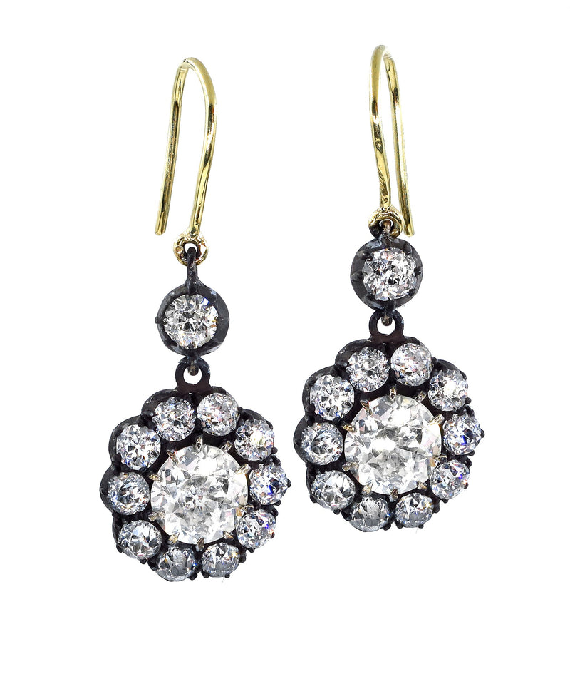 Authentic GIA 6.00ct Antique Victorian Old Euro Diamond Cluster Dangling Earrings | Treasurly by Dima - Exquisite Diamonds and Fine Quality Antique, Vintage, and Estate Jewelry