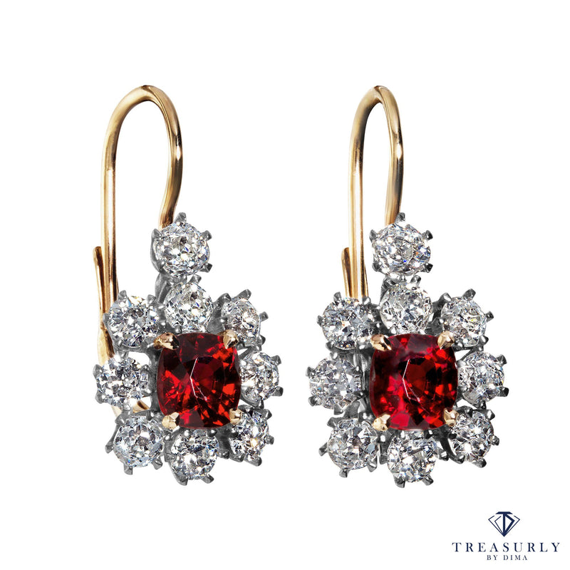 Edwardian 4.12ct Vivid Red Burma Spinel Diamond Cluster Hanging Drop Earrings | Treasurly by Dima - Exquisite Diamonds and Fine Quality Antique, Vintage, and Estate Jewelry