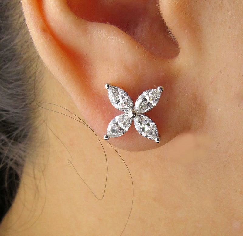 Estate 1.59ct Marquise Cut Diamond Cluster Flower Platinum Victoria Style Stud Post Earrings | Treasurly by Dima - Exquisite Diamonds and Fine Quality Antique, Vintage, and Estate Jewelry