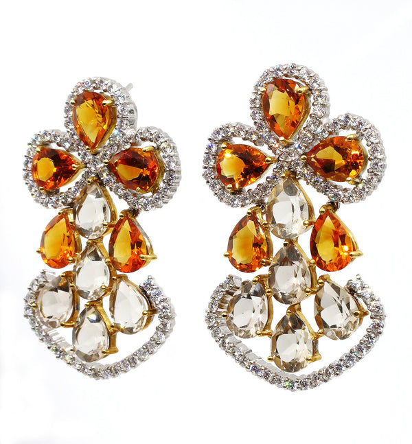 Spectacular 13.60ct DIAMOND Yellow CITRINE Smoky TOPAZ Earrings Chandelier Clip Post 18k White Gold | Treasurly by Dima - Exquisite Diamonds and Fine Quality Antique, Vintage, and Estate Jewelry