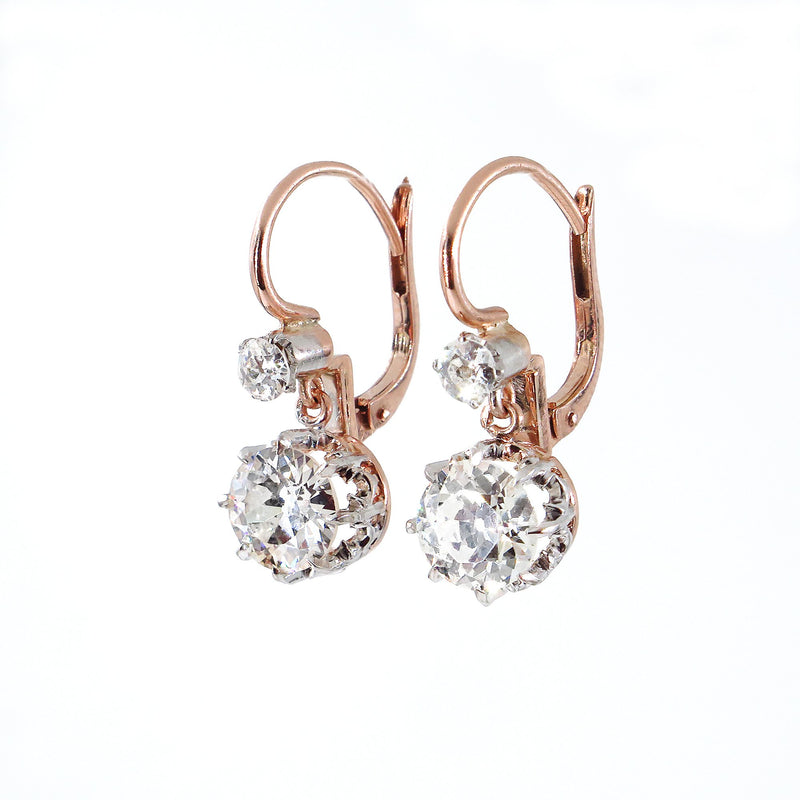 Victorian GIA 3.0ct Old European Diamond Dangling Platinum 18K Rose Gold Earrings | Treasurly by Dima - Exquisite Diamonds and Fine Quality Antique, Vintage, and Estate Jewelry