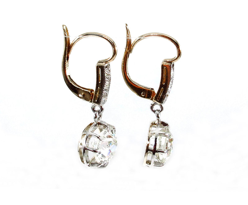 Victorian GIA 3.29ct Old European Diamond Dangling 18K Gold Drop Earrings | Treasurly by Dima - Exquisite Diamonds and Fine Quality Antique, Vintage, and Estate Jewelry