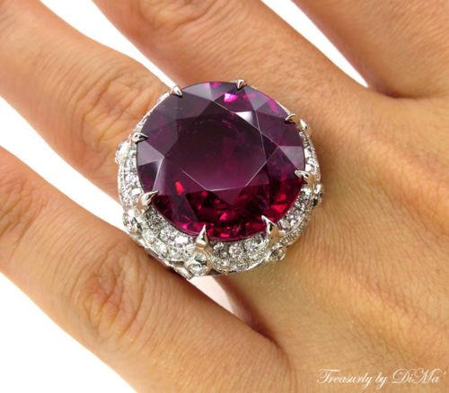 GIA 31.27CT ESTATE VINTAGE RED RUBELLITE TOURMALINE DIAMOND CLUSTER RING PLAT | Treasurly by Dima - Exquisite Diamonds and Fine Quality Antique, Vintage, and Estate Jewelry