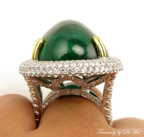 GIA 55.40CT ESTATE VINTAGE CABOCHON DEEP GREEN EMERALD DIAMOND RING 18K W GOLD | Treasurly by Dima - Exquisite Diamonds and Fine Quality Antique, Vintage, and Estate Jewelry