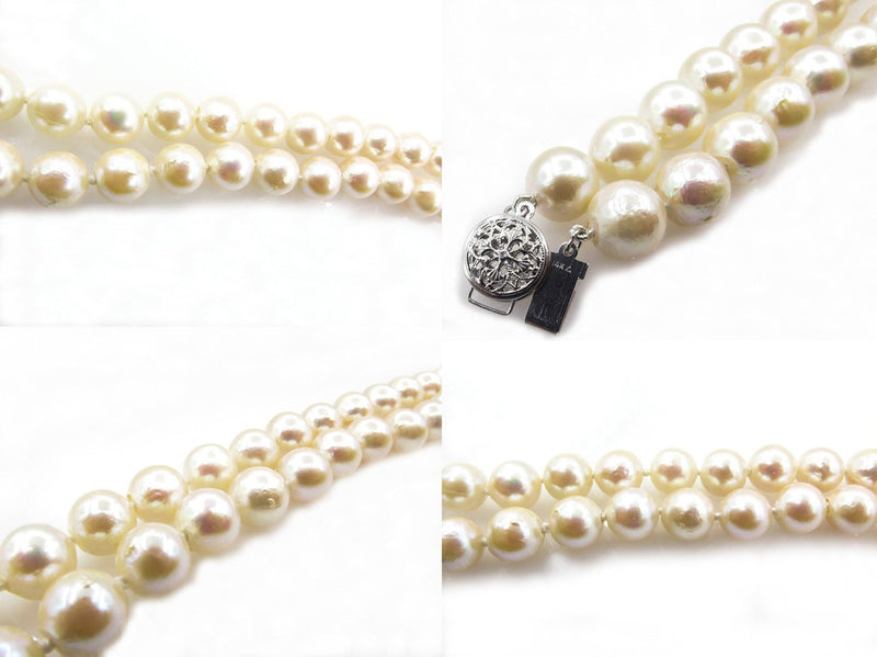 Classic Estate Vintage Cultured Japanese PEARL 9mm White Strand NECKLACE 14k Gold | Treasurly by Dima - Exquisite Diamonds and Fine Quality Antique, Vintage, and Estate Jewelry