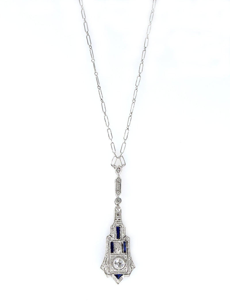 French Art Deco LAVALIERE DIAMOND SAPPHIRE Drop Pendant Necklace | Treasurly by Dima - Exquisite Diamonds and Fine Quality Antique, Vintage, and Estate Jewelry