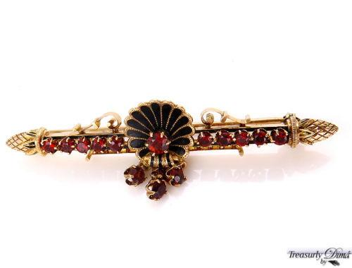 ESTATE VINTAGE 2.00CT RED GARNET ENAMEL PIN BAR BROOCH in HEAVY 14K YELLOW GOLD | Treasurly by Dima - Exquisite Diamonds and Fine Quality Antique, Vintage, and Estate Jewelry