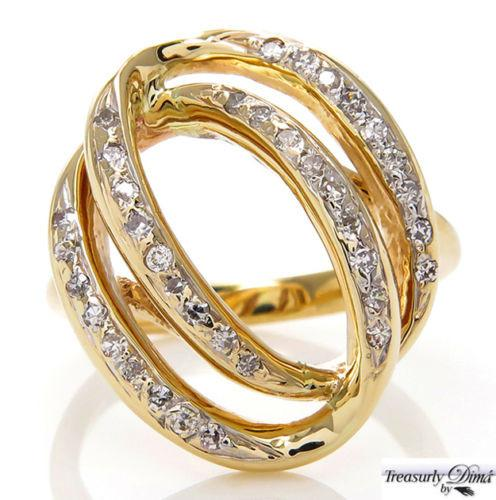 0.50CT ESTATE VINTAGE DIAMOND RIGHT HAND FASHION SWIRL 14K YELLOW GOLD RING | Treasurly by Dima - Exquisite Diamonds and Fine Quality Antique, Vintage, and Estate Jewelry