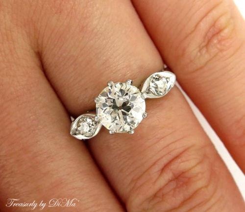 1.39CT DECO ANTIQUE VINTAGE OLD EURO DIAMOND ENGAGEMENT WEDDING RING EGL 14KWG | Treasurly by Dima - Exquisite Diamonds and Fine Quality Antique, Vintage, and Estate Jewelry