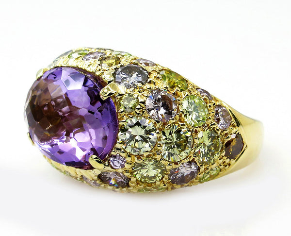 10.68ct Natural Fancy MULTICOLORED DIAMONDS & Amethyst Dome 18K Yellow Vintage RING | Treasurly by Dima - Exquisite Diamonds and Fine Quality Antique, Vintage, and Estate Jewelry