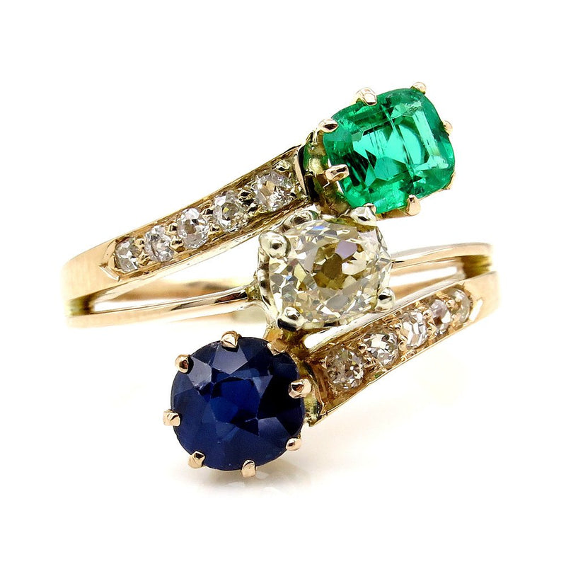 2.09CT ANTIQUE VICTORIAN OLD CUSHION DIAMOND SAPPHIRE GREEN EMERALD BYPASS RING | Treasurly by Dima - Exquisite Diamonds and Fine Quality Antique, Vintage, and Estate Jewelry
