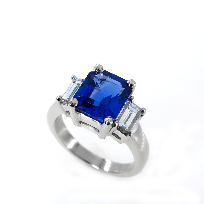 4.19ctw Ceylon GIA Natural Royal Blue Sapphire and Diamond Platinum 3 Stone Ring | Treasurly by Dima - Exquisite Diamonds and Fine Quality Antique, Vintage, and Estate Jewelry