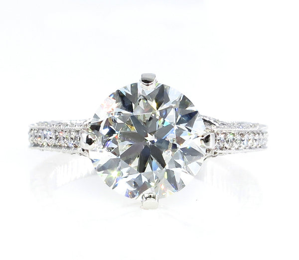 4.36ct Estate Round Brilliant Cut Diamond Solitaire Engagement Wedding Platinum Ring | Treasurly by Dima - Exquisite Diamonds and Fine Quality Antique, Vintage, and Estate Jewelry