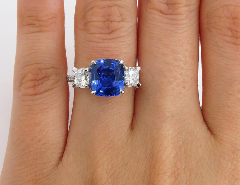 5.01ctw Ceylon GIA Natural Royal Blue Sapphire and Diamond Platinum 3 Stone Ring | Treasurly by Dima - Exquisite Diamonds and Fine Quality Antique, Vintage, and Estate Jewelry