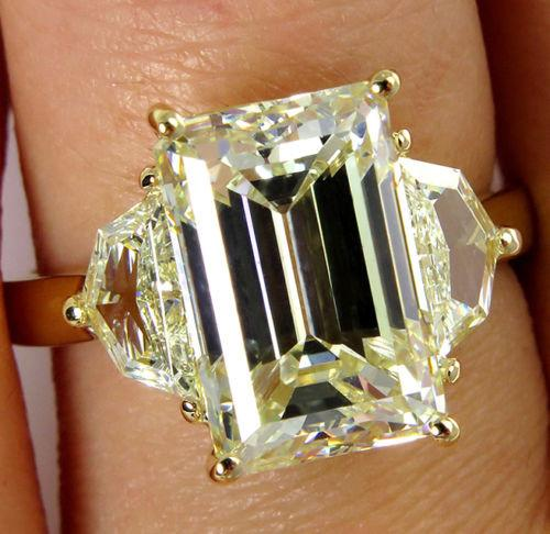 6.28CT ESTATE VINTAGE 3 STONE EMERALD CUT DIAMOND ENGAGEMENT WEDDING RING | Treasurly by Dima - Exquisite Diamonds and Fine Quality Antique, Vintage, and Estate Jewelry