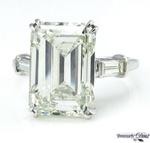 6.87CT ESTATE VINTAGE EMERALD CUT DIAMOND ENGAGEMENT WEDDING RING | Treasurly by Dima - Exquisite Diamonds and Fine Quality Antique, Vintage, and Estate Jewelry