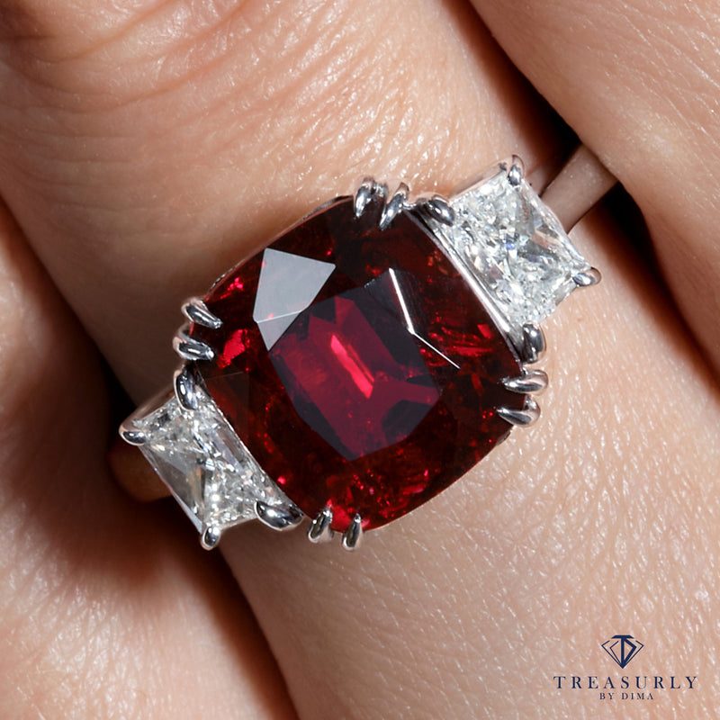 AGL 5.50ct Natural BURMA No-Heat Vivid Red SPINEL & Diamond 3 Stone Vintage Ring | Treasurly by Dima - Exquisite Diamonds and Fine Quality Antique, Vintage, and Estate Jewelry