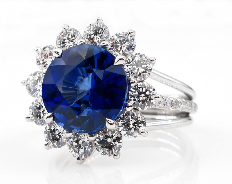 An exquisite 5.92ctw Ceylon GIA Natural Royal Blue Sapphire and Diamond Platinum Cluster Ring | Treasurly by Dima - Exquisite Diamonds and Fine Quality Antique, Vintage, and Estate Jewelry