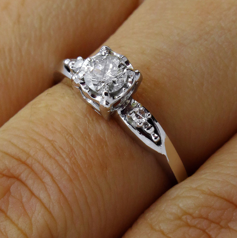 Antique Vintage Art Deco 0.37ctw ROUND Cut Diamond Engagement Promise Ring | Treasurly by Dima - Exquisite Diamonds and Fine Quality Antique, Vintage, and Estate Jewelry