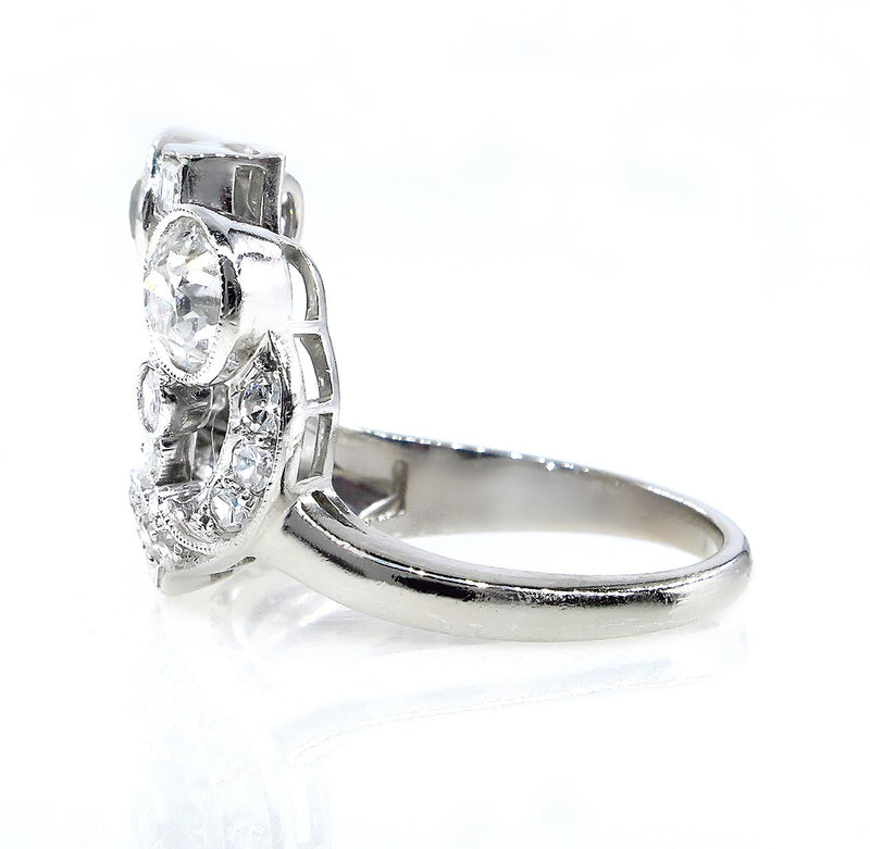 Art Deco 2.25ct OLD European Round Cut Diamond Cocktail Platinum Ring | Treasurly by Dima - Exquisite Diamonds and Fine Quality Antique, Vintage, and Estate Jewelry