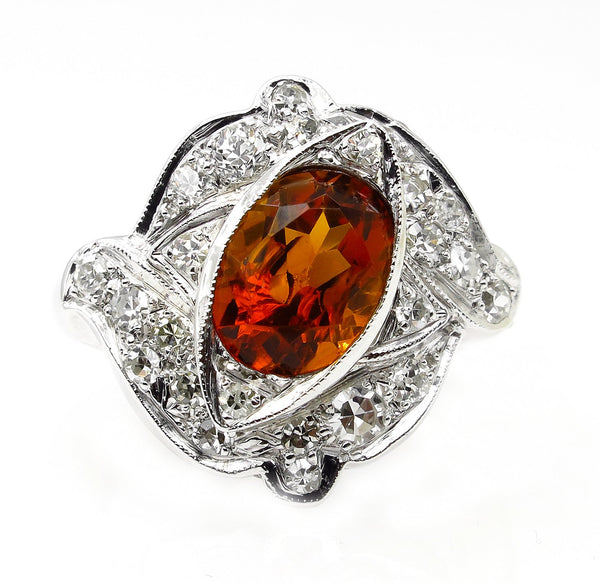 Art Deco 2.43ct Old European Antique Vintage Citrine and Diamond Platinum Ring | Treasurly by Dima - Exquisite Diamonds and Fine Quality Antique, Vintage, and Estate Jewelry