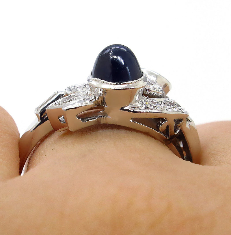 Art Deco 2.50ct OLD European Diamond & Sugarloaf Sapphire 14k White Gold Ring | Treasurly by Dima - Exquisite Diamonds and Fine Quality Antique, Vintage, and Estate Jewelry