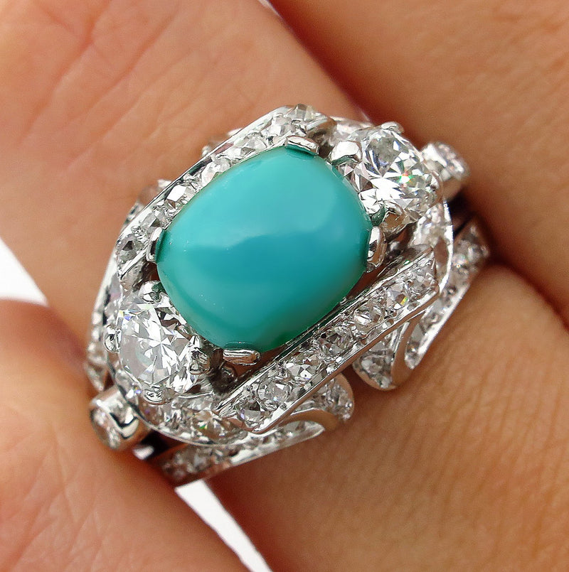 Art Deco 4.03ct Old European Diamond Turquoise Antique Vintage Platinum Ring | Treasurly by Dima - Exquisite Diamonds and Fine Quality Antique, Vintage, and Estate Jewelry