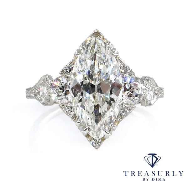 Art Deco GIA 3.78ct Old Marquise Cut Diamond Engagement Platinum Ring | Treasurly by Dima - Exquisite Diamonds and Fine Quality Antique, Vintage, and Estate Jewelry
