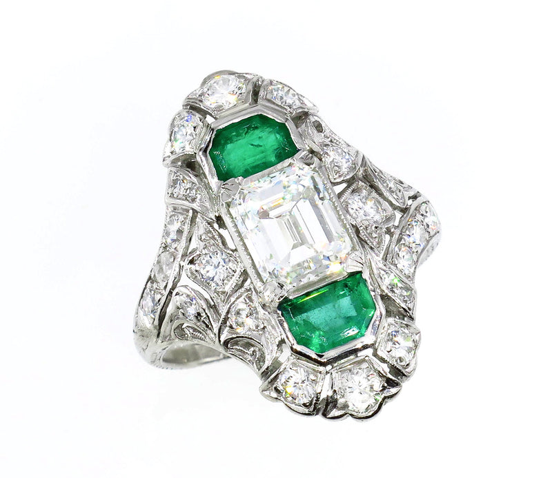 Art Nouveau 4.00ctw GIA H-VS2 Emerald Cut Diamond Platinum Ring | Treasurly by Dima - Exquisite Diamonds and Fine Quality Antique, Vintage, and Estate Jewelry