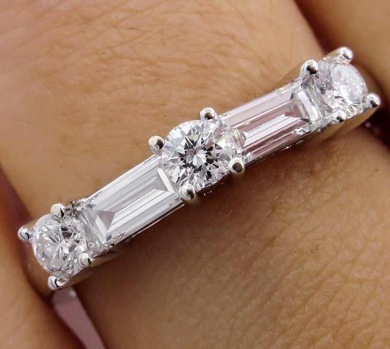 BAGUETTE ROUND Diamond Wedding Engagement 18k White Gold Band, Ring | Treasurly by Dima - Exquisite Diamonds and Fine Quality Antique, Vintage, and Estate Jewelry