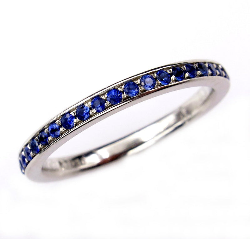 Bright Blue Round Sapphire 1/2CT Eternity Platinum RING Wedding Anniversary BAND | Treasurly by Dima - Exquisite Diamonds and Fine Quality Antique, Vintage, and Estate Jewelry