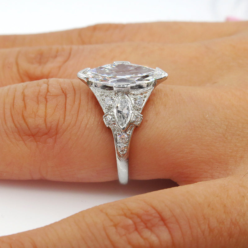 D-VS2 Art Deco Vintage GIA 2.45ct Old Marquise Cut Diamond Engagement PLATINUM Ring | Treasurly by Dima - Exquisite Diamonds and Fine Quality Antique, Vintage, and Estate Jewelry